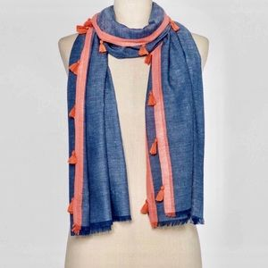 Blue/Coral Fringe Oblong Scarf/Wrap/Swim Cover